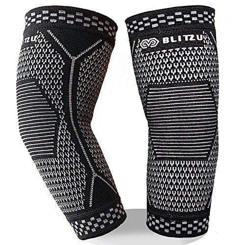 BLITZU Elbow Brace Compression Arm Sleeves UV Protection Elastic Support for Tendonitis Pain, Golfers Elbow, Arthritis, Bursitis, Tennis, Basketball Lifting Sports Men Women (Black, S)