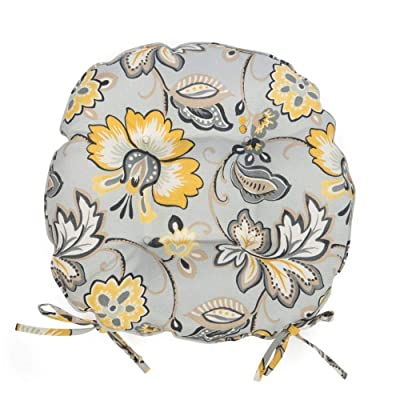 Gray Yellow Floral Garden Set of 2 16 Inch Round Bistro Cushions with Ties Outdoor Patio Chair Pads : Garden & Outdoor