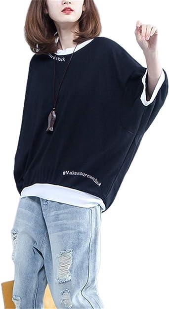 Mujer Tops Cortos Verano Elegante Moda Vintage Casuales Hipster Hipster Camisas Mangas De Murciélago Clásico Cuello Redondo Carta Impresión Talla Grande Estilo Moderno Shirts Camisetas Mujeres: Amazon.es: Ropa y accesorios