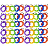 Glitterymall 50 Pack Stretchable Plastic Bracelet Key Coil Wrist Coil Wrist Band Key Ring Chain Holder Tag 5 Color Mix