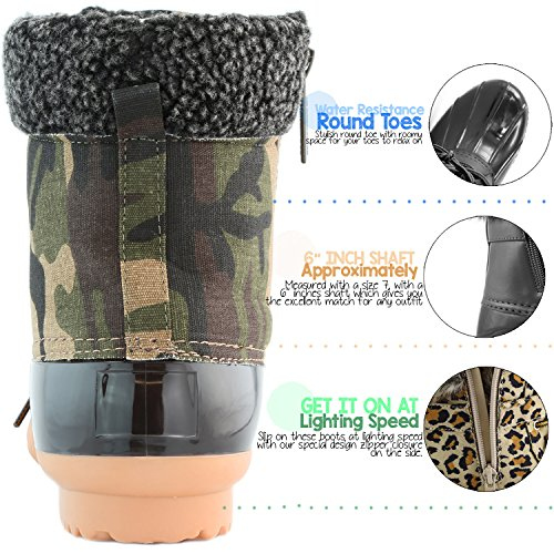 Mud Ankle High Snow PU Rubber up Women's Rain Camouflage Padded DailyShoes Collar Warm Duck Cashmere Boots Booties XYPfqC