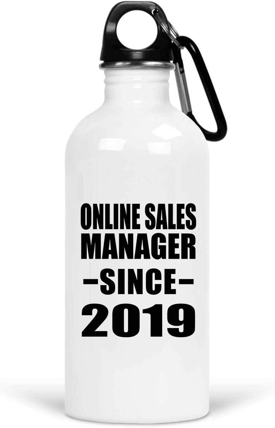 Designsify Online Sales Manager Since 2019-20oz Water Bottle Botella de Agua, Acero Inoxidable - Regalo para Cumpleaños Aniversario el Día de la Madre o del Padre