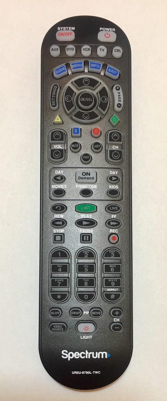 Spectrum updated CLIKR-5 universal remote control. Backwards compatible with Time Warner, Brighthouse and Charter cable boxes