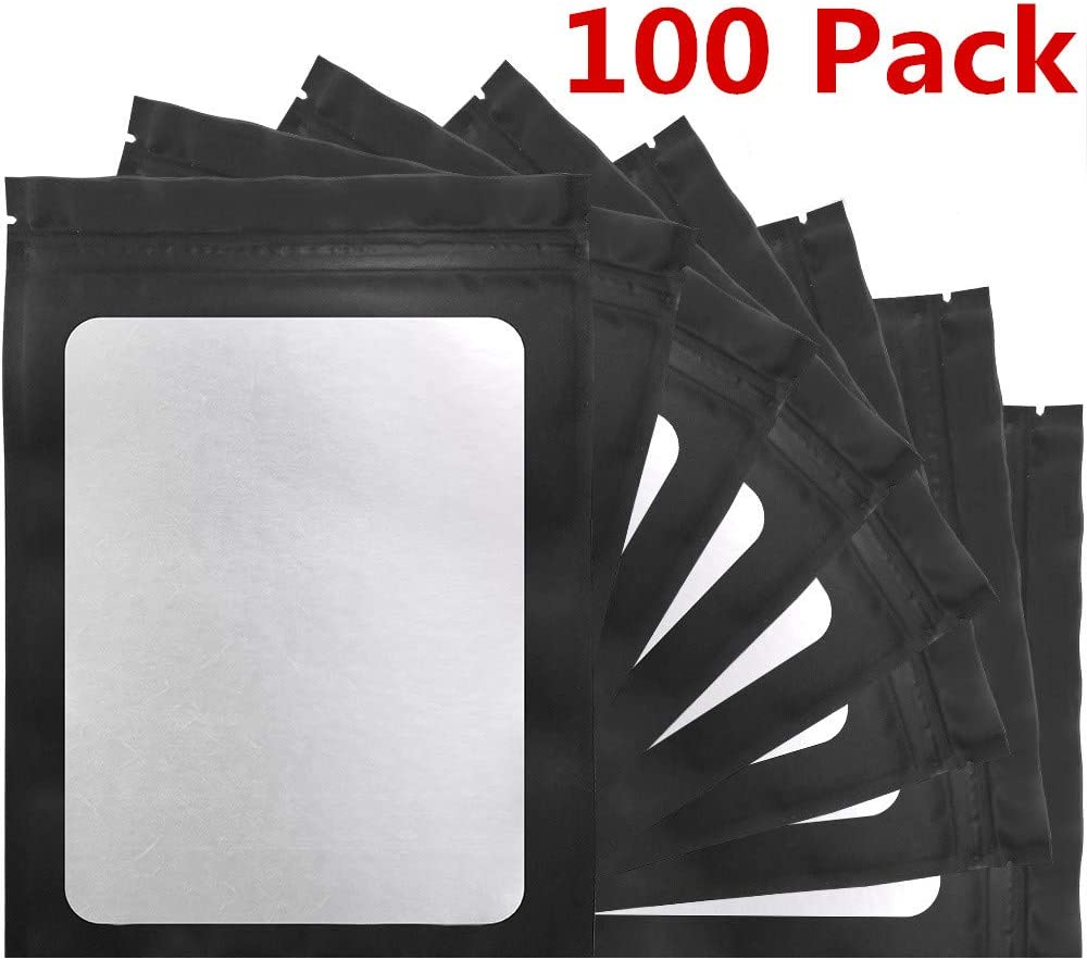 STUs 100 Pack Mylar Bags - 5.9 x 8.7 Inch Smell Proof Bags with Clear Window Foil Pouch Bag Flat Ziplock Bags Matte Black