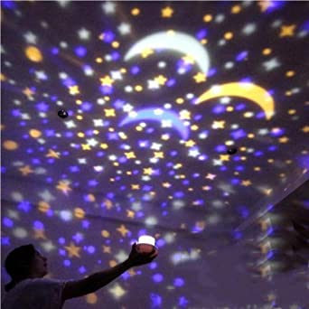 Mesita de noche, luz romántica, estrella, proyector, lámpara, niña ...