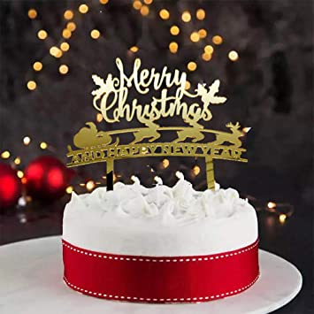 merry christmas and happy new year cake toppers cake toppers for family gathering and new