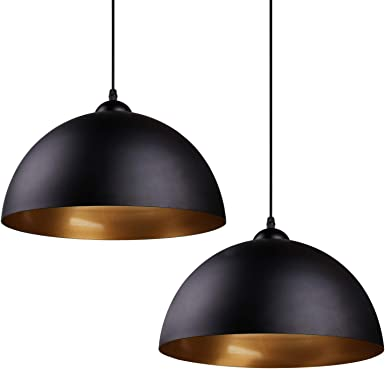 Lot de 2 suspensions LED industrielles vintage Φ 30 cm pour