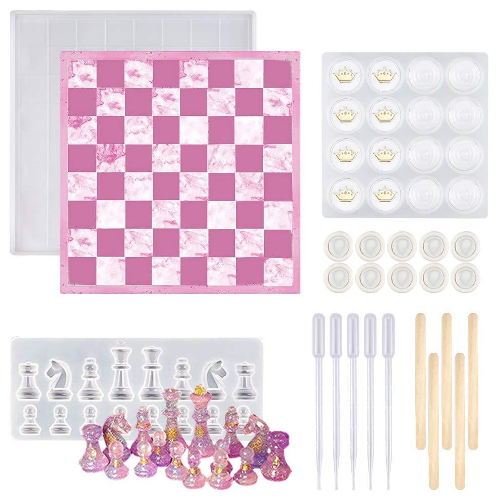 Moldes de silicona para resina, Juego de damas y ajedrez