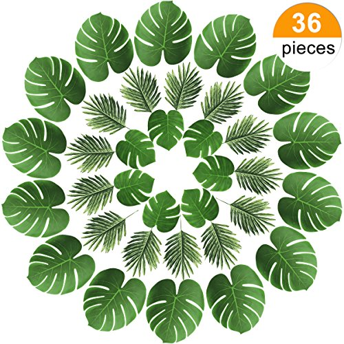 Sunm boutique 36 Pieces 2 Kinds Artificial Palm Leaves Tropical Palm Leaves Table Decoration Accessories Party Beach Theme Decorations (Green Palm Leaves, Pack of 36) ()