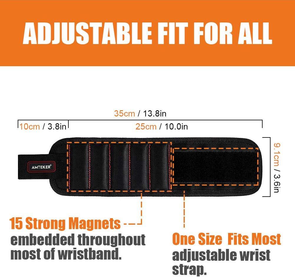 Best Tool cadeau pour bricoleur Handyman hommes tr/épans de forage clous Noir Bracelet magn/étique avec des aimants forts pour les vis de maintien femmes