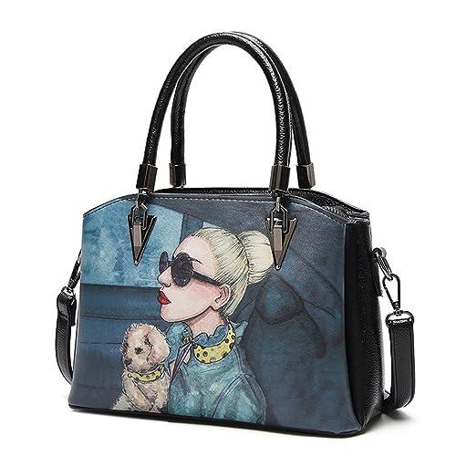 89e202e79d78 2018 girl women new personality Rome bag graffiti handbags fashion Korea single  shoulder bag (Blue)  Handbags  Amazon.com