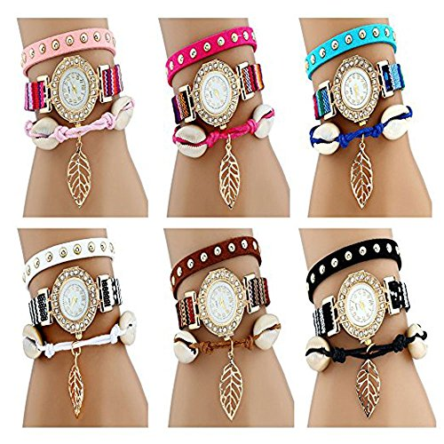 CdyBox Women's PU Leather Band Rivet Wrist Watches Handmade Braided Girl's Bracelet(6 pack)
