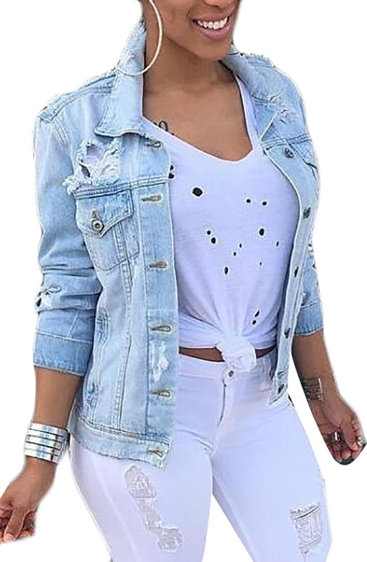 Fulok Womens Stylish Collar Ripped Destroyed Denim Jacket Outwear Light Blue L