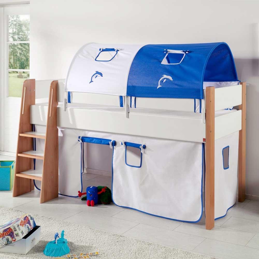 Pharao24 Kinderhochbett mit Vorhang und Tunnel halbhoch