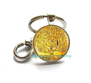 Amazon.com: Llavero de árbol de la vida Klimt, árbol de la ...
