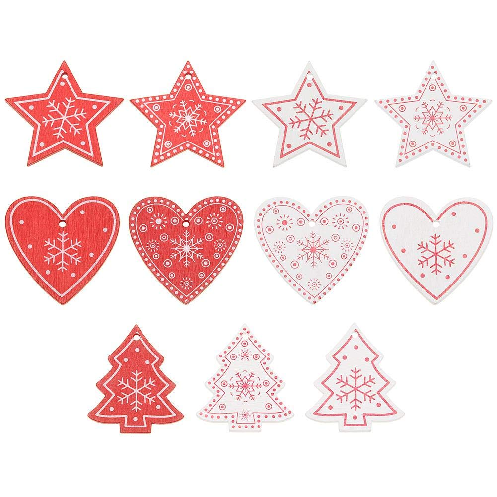 WinnerEco Christmas Ornaments 10pcs 5cm Wood Christmas Hanging Ornaments Pendant DIY Xmas Tree Decor (B)