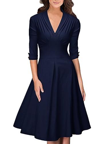 OTEN Women's Vintage V Neck Half Sleeve Formal Evening Cocktail Party Dress