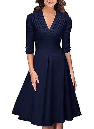 aeb7d49db053 OWIN Women s Retro Deep-V Neck Half Sleeve Vintage Casual Swing Dress Party  Dress