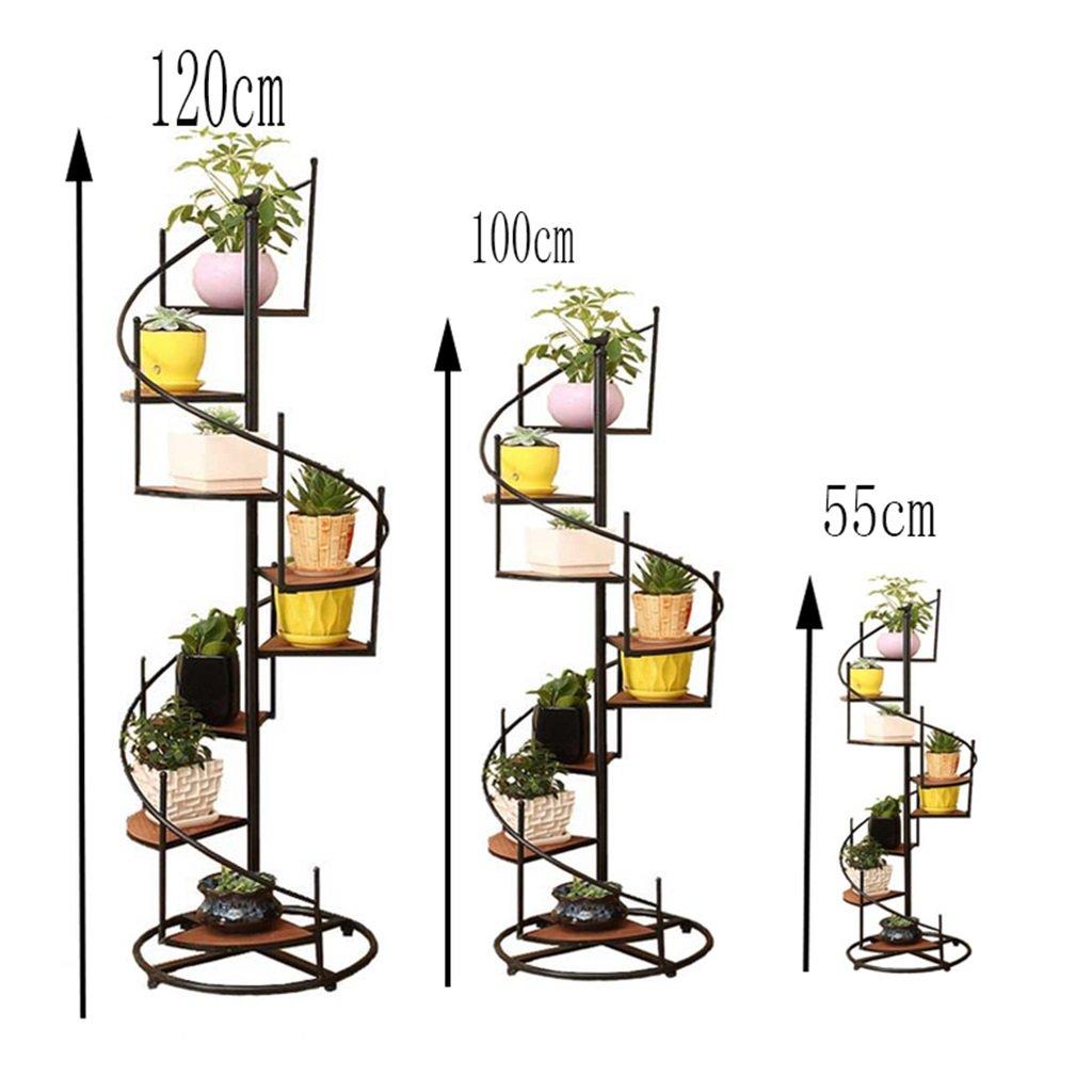 gr/ö/ße : 23 * 9 * 55cm JXXQD Retro Eisen-und Fester h/ölzerner mehrschichtiger Boden-Blumen-Topf-Stand f/ür Balkon-Wohnzimmer-Treppen-Eckregal kann 8 Blument/öpfe unterbringen