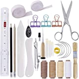 MIUSIE 32 Pieces Hand Bookbinding Tools,Practical Bookbinding Kit for Beginners,Complete Bookbinding Tool Kit with Bookbinding Waxed Thread,Bookbinding Needles for Paper Bookbinding