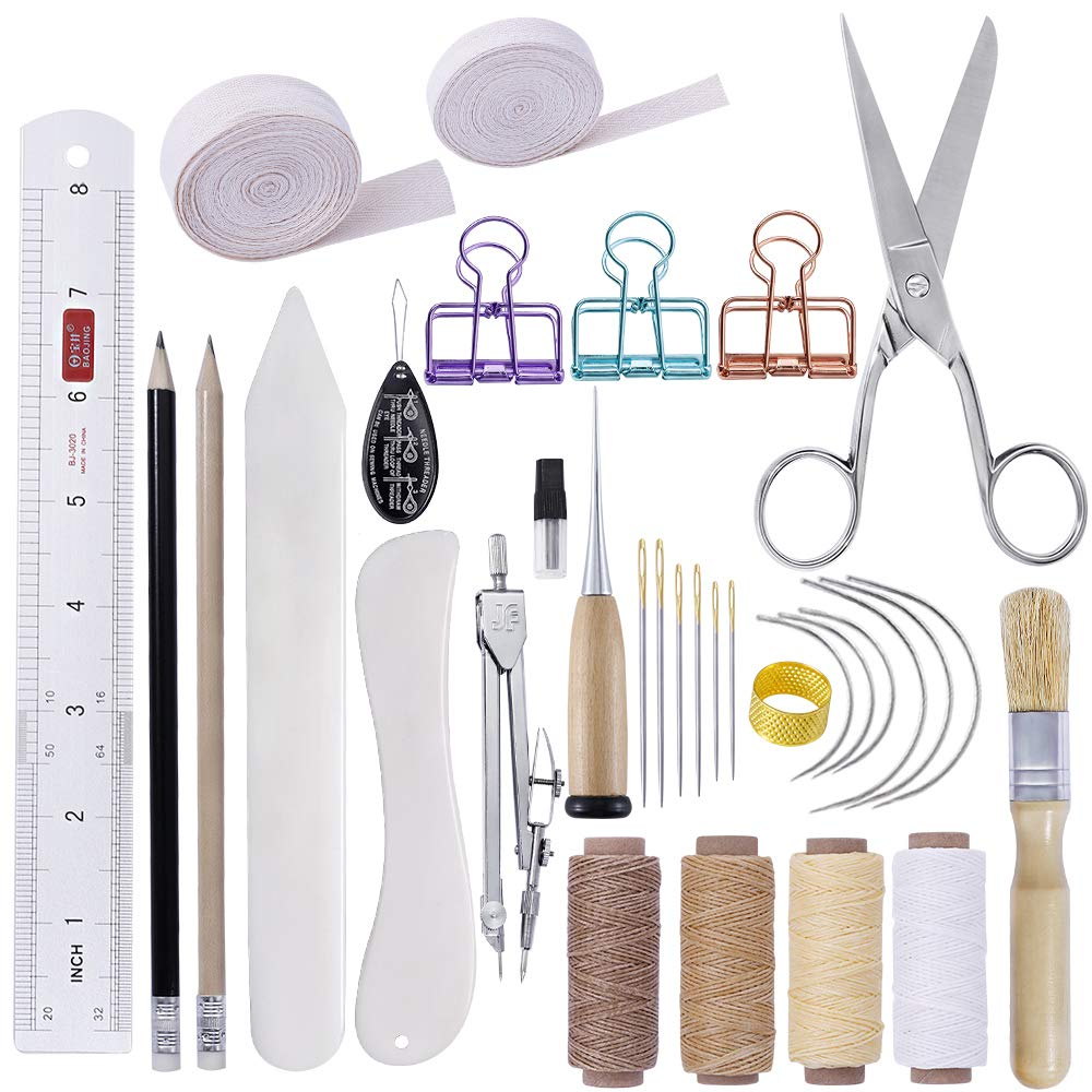 MIUSIE 32 Pieces Hand Bookbinding Tools, Practical Bookbinding Kit for Beginners, Complete Bookbinding Tool Kit with Bookbinding Waxed Thread, Bookbinding Needles for Paper Bookbinding