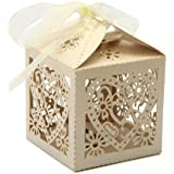 PONATIA 50 PCS Love Heart Laser Cut Candy Gift Boxes With Ribbon Wedding Party Favor (Beige)