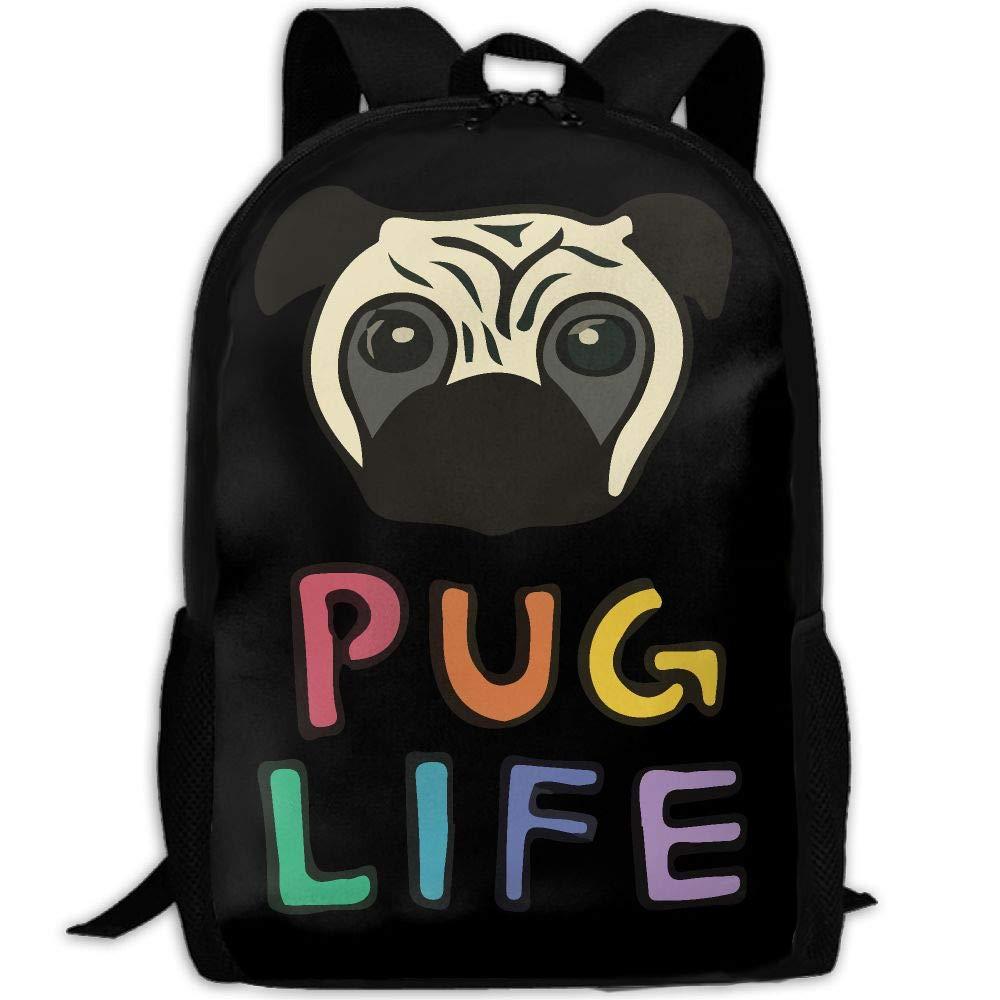 OIlXKV Cartoon Pug Life Print Custom Casual School Bag Backpack Multipurpose Travel Daypack For Adult by OIlXKV