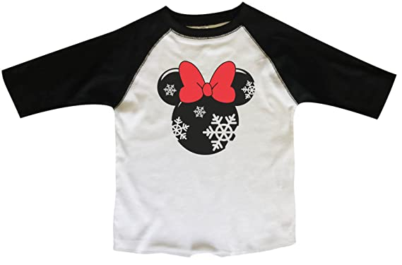 "8bf9643f Funny Threadz Girls Christmas Raglan Minnie Mouse"" Disney Holiday Baseball  T-Shirt X-"
