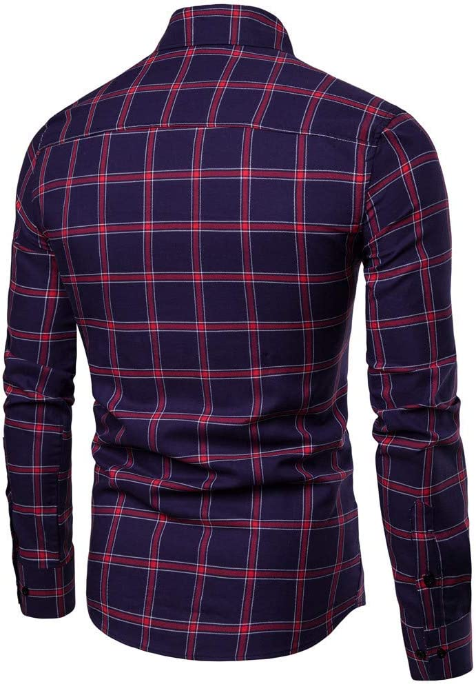 Mens Plaid Dress Slim Fit Shirts Long Sleeve Business Shirts Basic Designed Breathable Solid Blue, L
