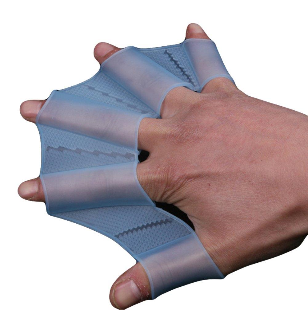 Hosaire 1X Guanto in Silicone Blu per l'Allenamento della Mano a Paletta, swim palmo paddle adatto per adulti M