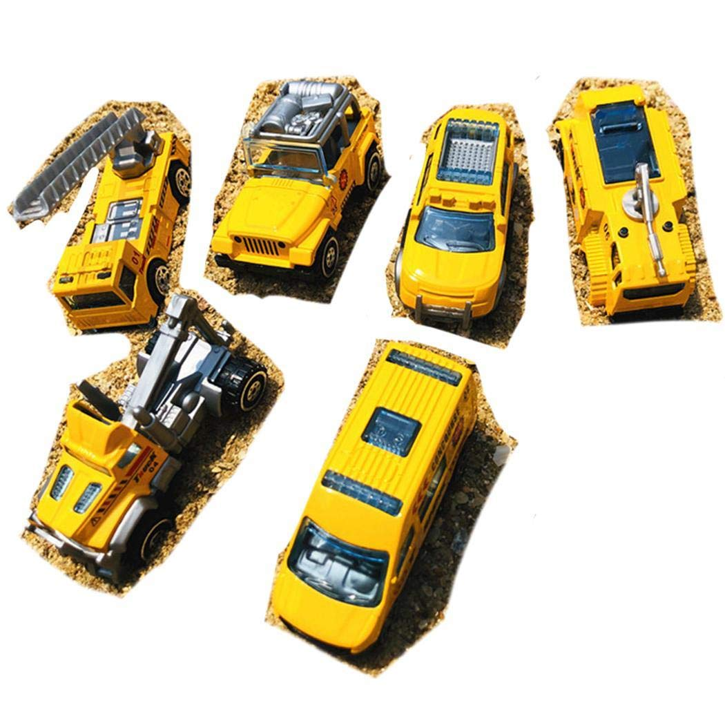 GoodKE 6Pcs/Box Mini Alloy Engineering Vehicles Simulation Car Model Education Toy Gifts Toy Organizers