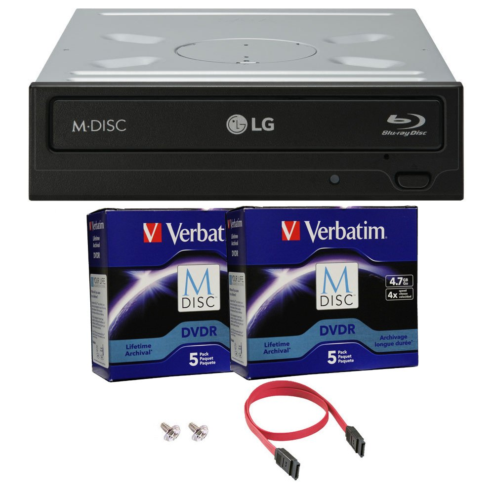 LG 16x WH16NS40 Internal Blu-ray Writer Bundle with 10 Pack Verbatim M-DISC and Cable Accessories (Supports CD DVD BD BDXL MDISC)