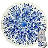 Mimosa Inc Round Beach Towel Samundar 5ft Pool Towel Ultra Plush 100% Cotton Terry Velour Throw Mat With Thick Artisan Tassels Bright Colors Machine Washable Designed In California (11 Options)