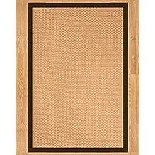 NaturalAreaRugs Handcrafted Carlton Sisal Rug, Sienna Cotton Border, Non-Slip Backing, 2' x 3'