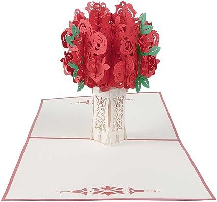 Carte Pop Up Bouquet De Roses Pour Un Mariage La Saint Valentin Un Anniversaire La Fête Des Mères