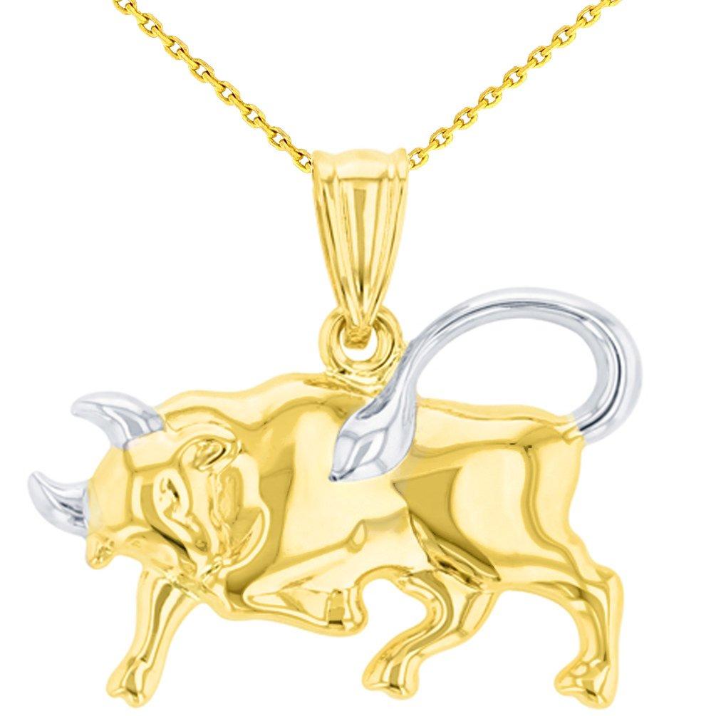 High Polish 14K Yellow Gold Bull Pendant Taurus Zodiac Sign Charm Necklace, 22'' by JewelryAmerica