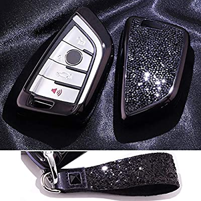 Royalfox(TM) Luxury 3 4 Buttons 3D Bling Smart keyless Entry Remote Blade Key Fob case Cover for BMW 1 2 3 5 7 M Series,BMW X1 X3 X4 X5 X6,with Keychain (Black) [5Bkhe1102478]