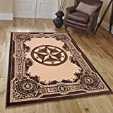 """Texas Star, Cowboy, Western, Woven Area Rug, Drop-Stitch Weave Technique with Carve Effect (5' 2"""" x 7' 2"""")"""