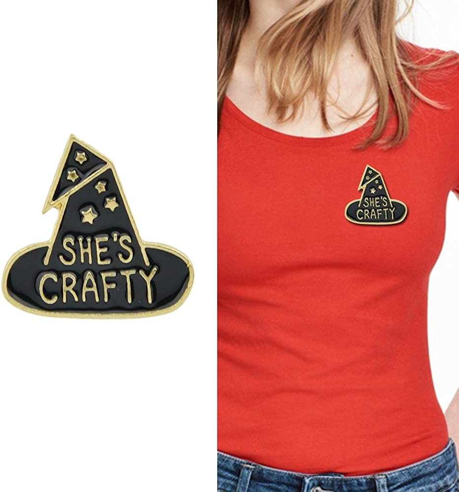Feelontop/® Gothic Black Enamel Witch Magic Hat Shape with She is Crafty Brooch Badge with Jewelry Pouch