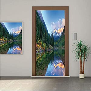 Ylljy00 Lake House Decor Door Wall Mural Wallpaper Stickers,Reflection of Snowcapped Maroon Bells in Fall at Sunrise Panoramic Picture Print 30x80 Vinyl Removable Decals for Home Decoration