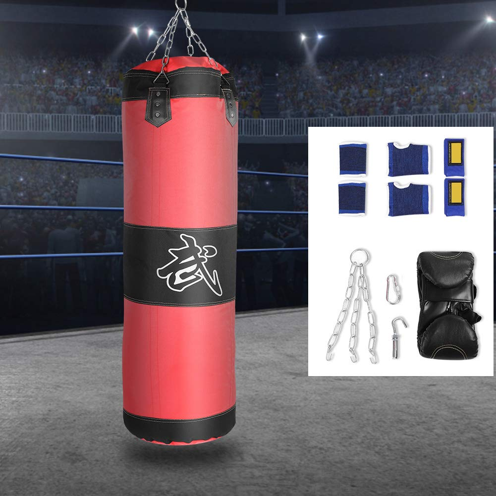 Rouge-1m cha/îne Creuse Taekwondo Karat/é Fitness Fitness Sac de Sable Vide Fsskgxx Sac de Boxe Lourd de Boxe