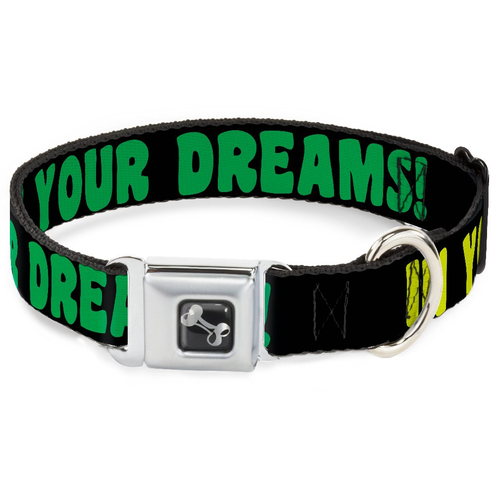 Buckle-Down in Your Dreams   Black Pink Green Yellow Dog Collar Bone, Wide Large 18-32