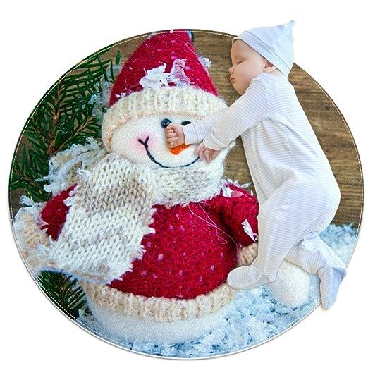 Vockgeng Un muñeco de Nieve Alfombras Redondas cómodas y ...