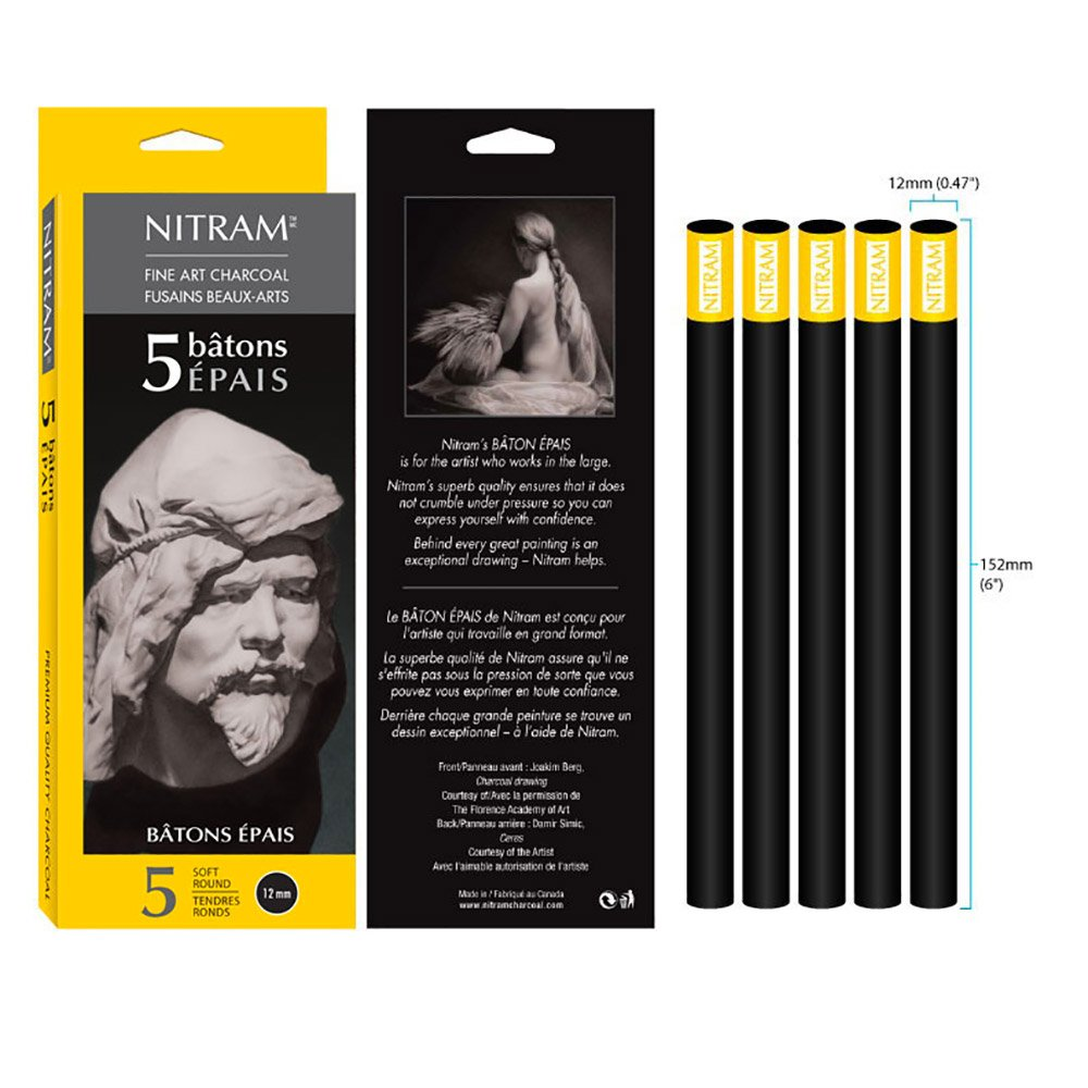 Nitram Charcoal Soft 12Mm Round Sticks 5/Pk