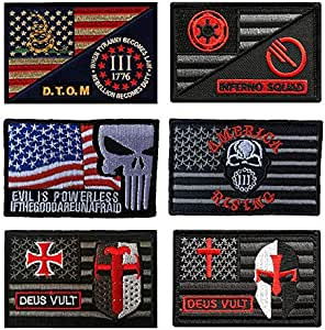 Antrix 6 piezas Star Wars Frontline Hell Squad Cross Knight Deus Vult Casco D.T.O.M Evil is Powerless America Rising Inferno Squad Tactical Star Wars Patch Set: Amazon.es: Juguetes y juegos