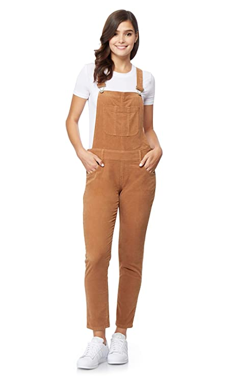 WallFlower Women's Juniors Stretch Corduroy Overalls in Latte, Large best juniors' overalls