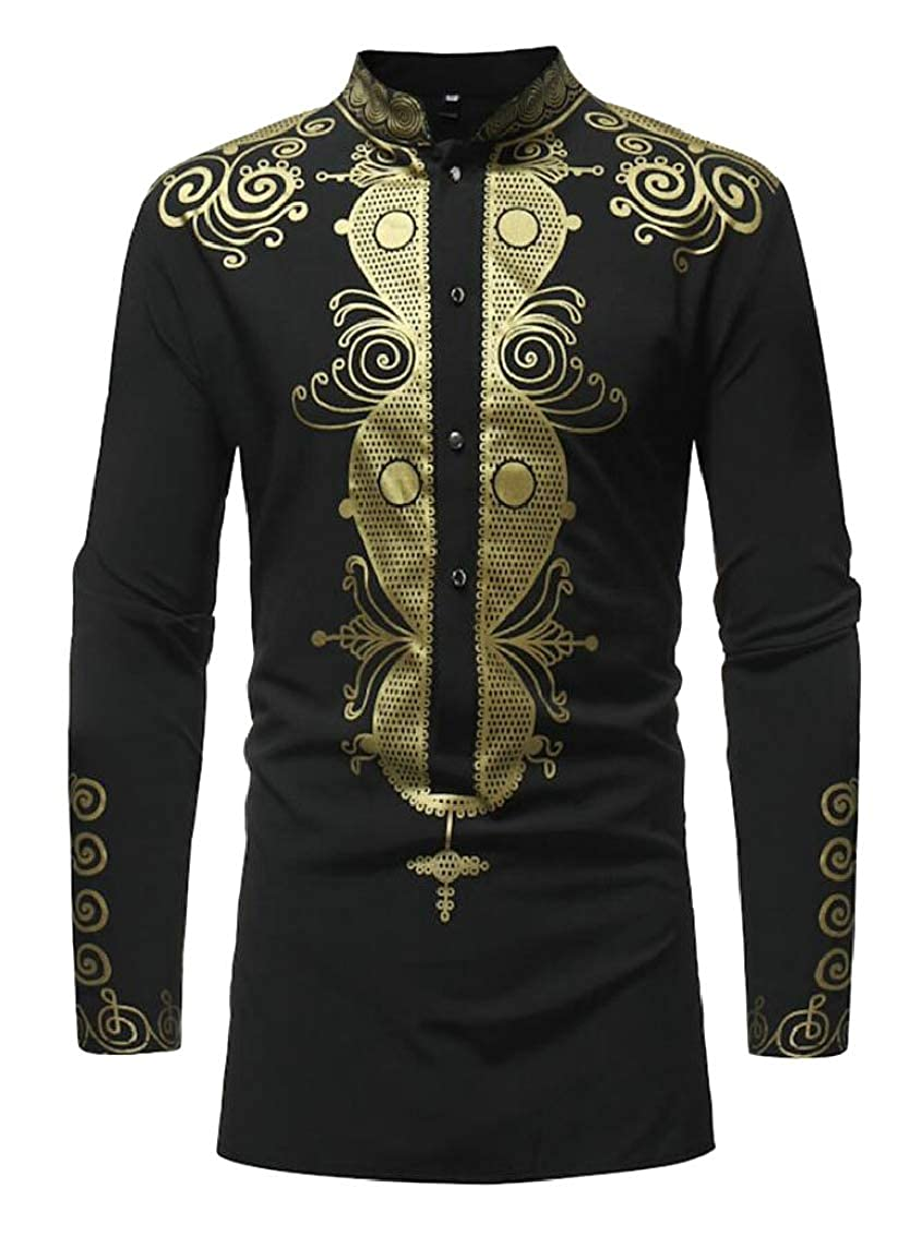 Yayu Men African Dashiki Shirt Floral Printed Long Sleeve Casual Dress Shirt