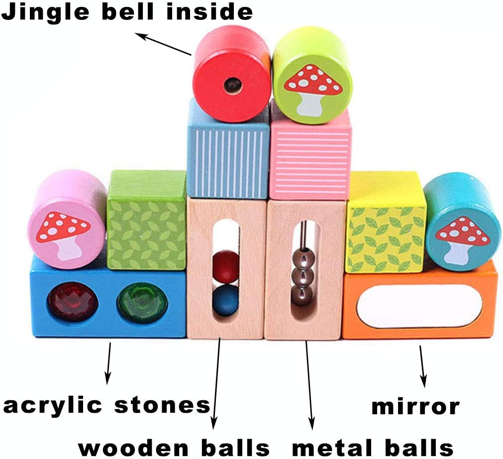 Toddler Sensorial Development Toys Baby Acoustic Sound Stacking Blocks with Optical Mirror Storage Tray 13 Pieces Set