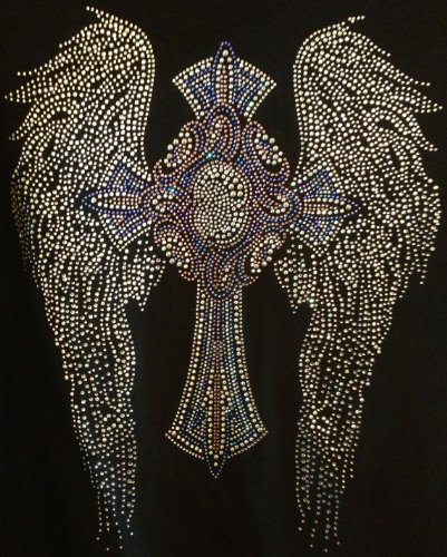 Ex-large Angel Wing with Cross Favorite Rhinestone Transfer