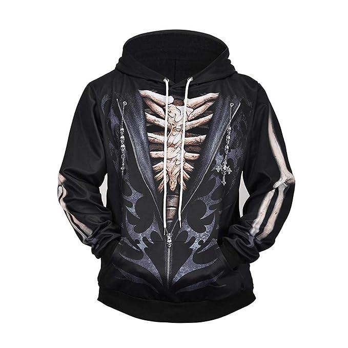 Unisex 3D Divertido suéter Impresión Digital Sudadera Falso de Dos Piezas Esqueleto Sudaderas con Capucha de Manga Larga Jersey con Bolsillo Canguro: ...
